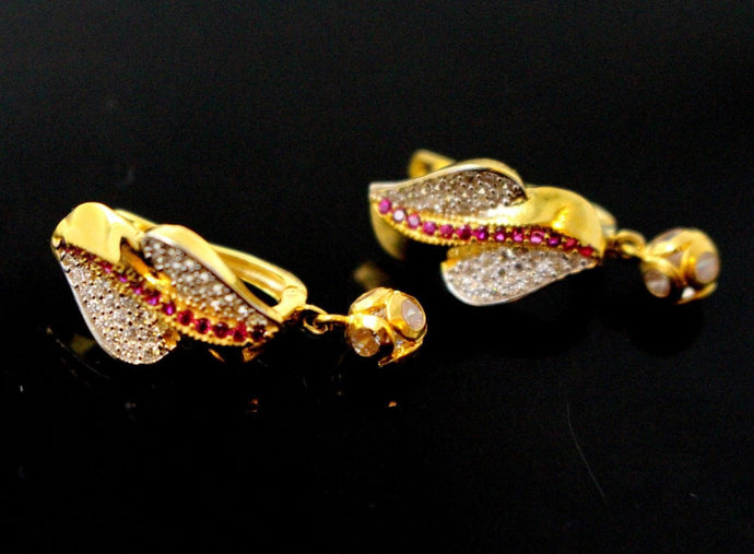 22k Jewelry Solid Gold ELEGANT ZIRCONIA CLUSTERED CLIP ON earrings studs e5491