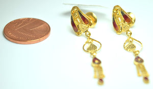 22k Solid Gold ELEGANT LONG EARRINGS Dangling Hanging Antique Design E9080 | Royal Dubai Jewellers