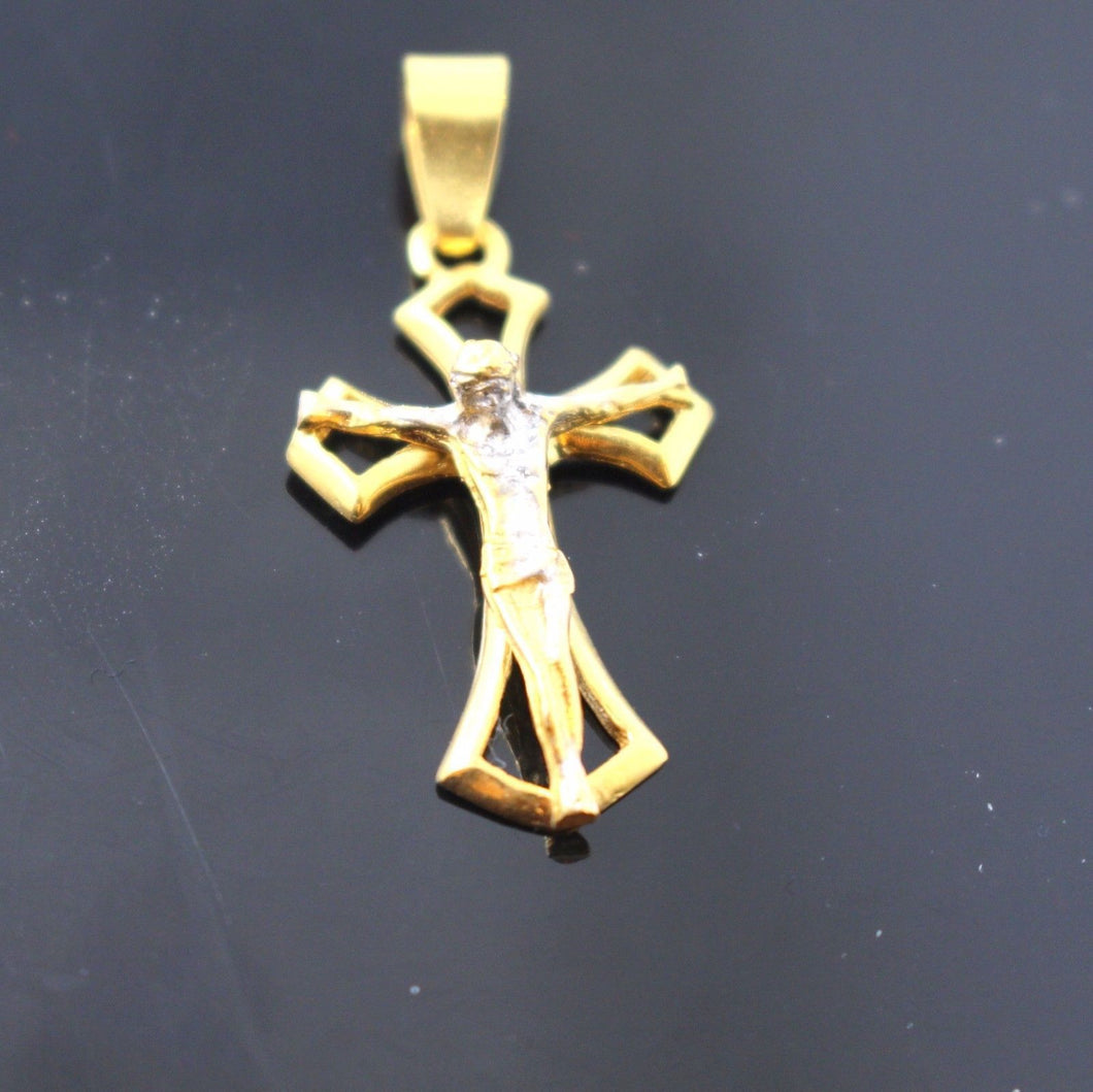 22k 22ct Solid Gold Christian Cross Pendant Charm Locket p743 - Royal Dubai Jewellers