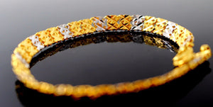 22k 22ct Solid Gold ELEGANT RHODIUM TWO TONE beautiful band Bracelet B688