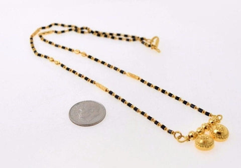 22k Yellow Gold ASTONISHING MANGALSUTRA BLACK BEADS Chain BALL PENDANT 18 c522