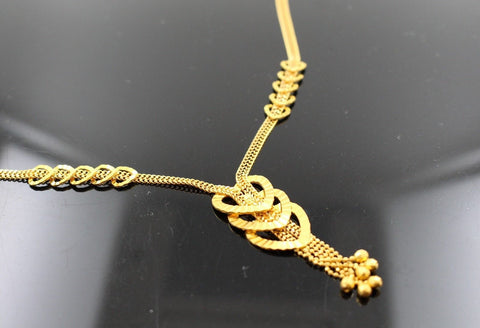 22k 22ct Solid Gold Simple Light Chain Set Modern Heart Design cs100 | Royal Dubai Jewellers