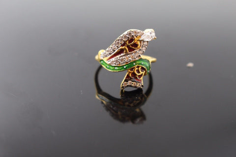 "22k 22ct Solid Gold ELEGANT STONE LADIES Ring SIZE 6.5 ""RESIZABLE"" R1075"