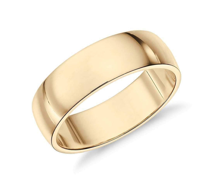 14k Solid Gold Low Classic Wedding Ring 6mm Custom Size Avaliable