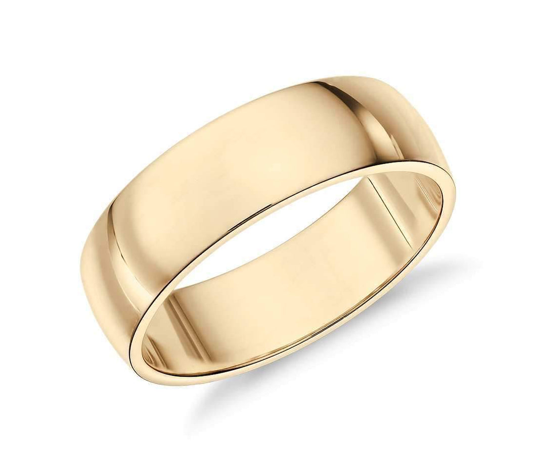 14k Solid Gold Low Classic Wedding Ring 6mm Custom Size Avaliable | Royal Dubai Jewellers