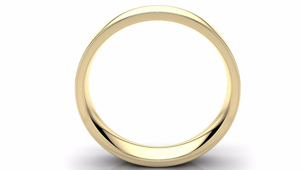 22k Solid Gold 5mm Comfort Fit Wedding Flat Band in 22k Yellow Gold