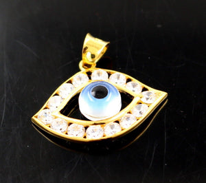 22k 22ct Solid Gold Elegant Modern Design Religious Eye Shape Pendant p688