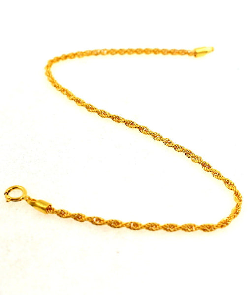 22k 22ct Jewelry Solid Gold THIN ROPE DESIGN BABY CHILDREN BRACELET cb1101 - Royal Dubai Jewellers