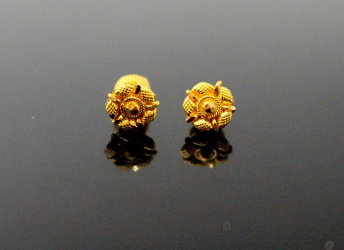 22k 22ct Solid Gold ELEGANT ROUND TOPS EARRING Simple Floral Design E5588