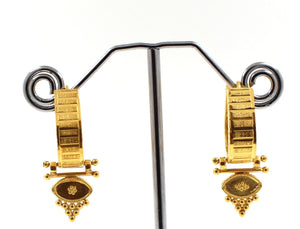 22K 22ct Gold INDIAN MUGHAL WITH click-top closures HOOP BALI EARRINGS E5407 | Royal Dubai Jewellers