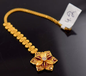 22k 22ct Yellow SOLID Gold SMALL FLOWER STONE MANG TIKKA TIKA WOMAN T18 | Royal Dubai Jewellers