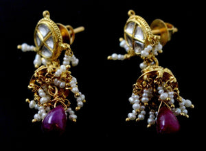 22k 22ct Solid Gold ELEGANT Antique JHUMKE DANGLING Earring e5840