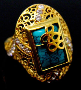 21k 21ct GOLD ELEGANT TURQUOISE STONE DESIGNER LADIES RING SIZE 7.5 R1568 - Royal Dubai Jewellers