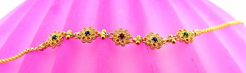 22k 22ct Solid Gold ELEGANT Ladies CHARM Enamal FLOWER Bracelet B686