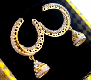 22k 22ct Solid Gold ELEGANT EARRING ZIRCON LONG HANGING Design E5077 | Royal Dubai Jewellers