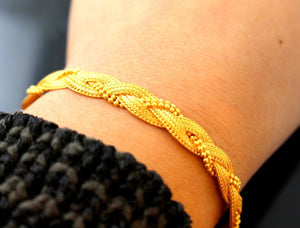 22k Gold Solid Yellow Elegant Bracelet Weave Design Length 7 inch c626a