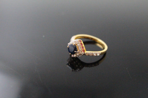 "22k 22ct Solid Gold ELEGANT Ladies Onyx Stone Ring SIZE 6 RESIZABLE"" R1558"
