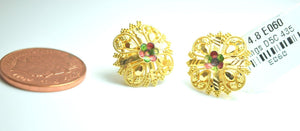 22k Solid Gold ELEGANT FLOWER STUD EARRINGS Classic Design E060 | Royal Dubai Jewellers