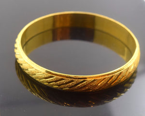 22k Solid Gold ELEGANT WOMEN BANGLE BRACELET Size 2.5 inch B309 MODERN DESIGN