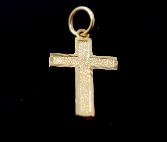 22k 22ct Solid Gold Christian Cross Pendant Charm Locket p1274
