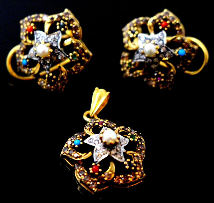 22k 22ct Solid Gold ELEGANT FLOWER PENDANT SET PEARL ZIRCONIA EARRINGS P1312