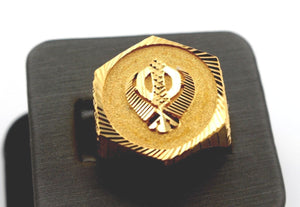 22k 22ct Solid Gold ELEGANT SIKHI KHANDA MENS RING BAND Size10.8 RESIZABLE R1358