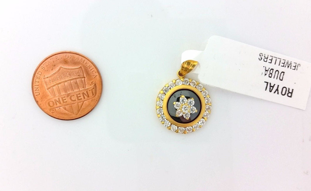 22k Solid Gold Charm Shield pendant with diamonelle gross finish p0198 | Royal Dubai Jewellers