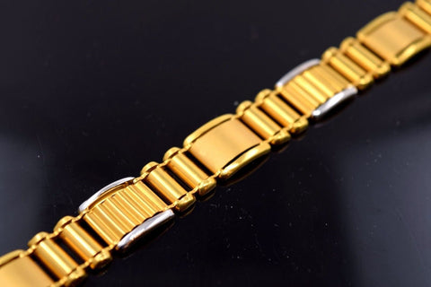 22k Gold Solid FANCY ITALIAN DESIGNER MEN BRACELET RHODIUM LENGTH 8.2in B499