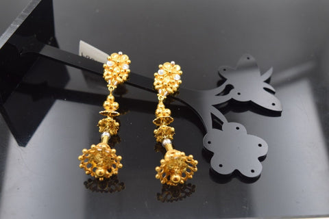 22k Solid Gold ELEGANT LONG JHUMKE EARRINGS HANGINGS ANTIQUE DESIGN E1009