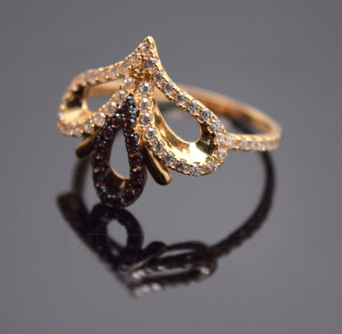 22k Solid Gold ELEGANT Stone Ring BAND Crown Design
