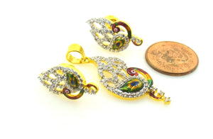 22k 22ct Solid Gold ELEGANT STONE PEACOCK ENAMEL Pendant Set EARRINGS S25