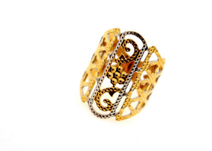 "22k 22ct Solid Gold Elegant ladies rhodium Designer ring band ""RESIZABLE"" R1632"