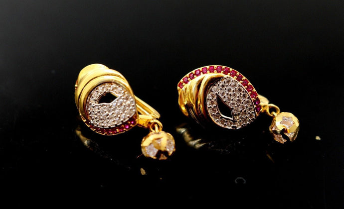 22k Jewelry Solid Gold ELEGANT ZIRCONIA CLUSTERED CLIP ON earrings studs e5492