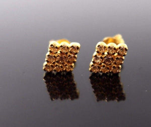 22k 22ct Solid Gold ELEGANT ZIRCONIA SMALL STUD Earring e5046 | Royal Dubai Jewellers