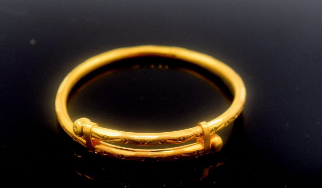 22k 22ct Solid Gold ELEGANT BABY BANGLE Bracelet length CB289 with unique box