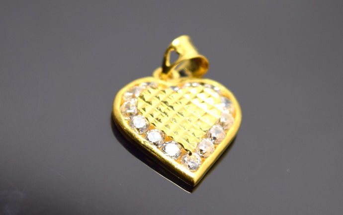 22k 22ct Solid Gold ELEGANT HEART STONE LOCKET Pendant P176