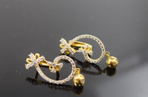 22k Solid Gold ELEGANT STONE CUFF CLIP ON EARRINGS odern Design E564
