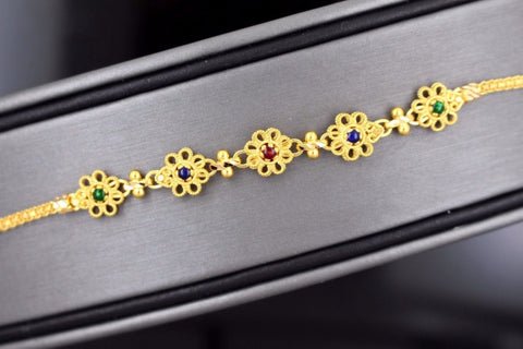 22k 22ct Solid Gold ELEGANT Ladies CHARM ENAMEL Flower Bracelet B686