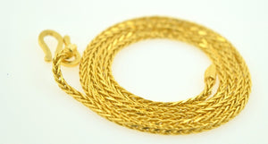 22k Yellow Solid Gold Chain rope Necklace 2.5 mm with white diamond cut box