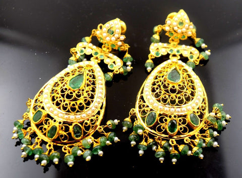 22k Solid yellow Gold Emerald LONG EARRINGS chandeliers Dangle DANGLING E612