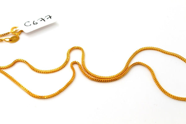 22k 22ct Chain Yellow Solid Gold Rope Necklace FoxTail Length 16 Inch c677 - Royal Dubai Jewellers