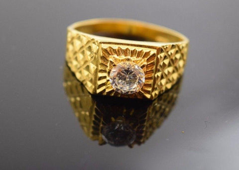 "22k 22ct Solid Gold ELEGANT STONE MENS Ring BAND with BOX ""RESIZABLE"" R314"