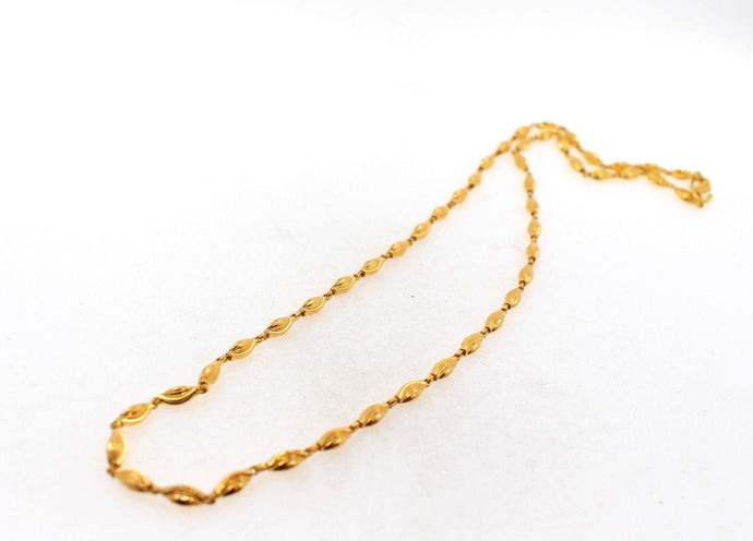 22k Gold ASTONISHING Elegant Chain Unique Bead Design Length 16 inch c591