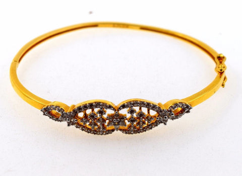 22k Solid Gold ELEGANT WOMEN BANGLE BRACELET MODERN DESIGN Size 2.25 inch B462