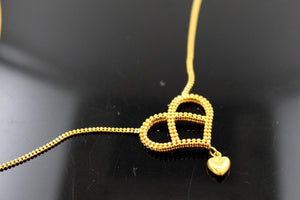 22k 22ct Solid Gold Simple Light Chain Set Modern Heart Design cs116