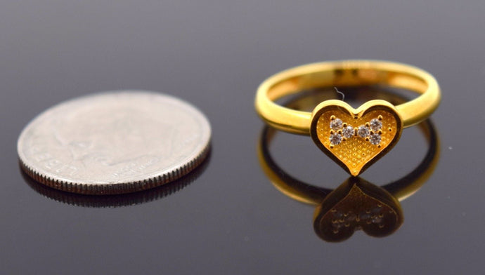 22k 22ct Solid Gold CUTE ZIRCONIA HEART BABY KID Ring