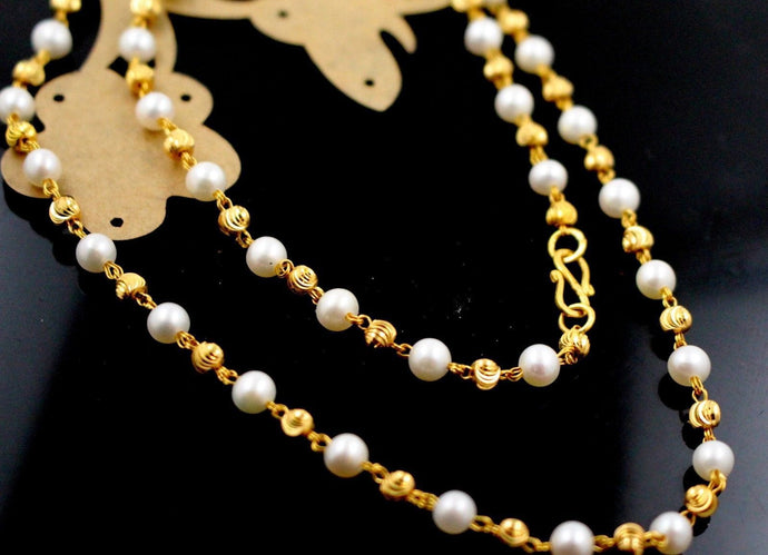 22k Gold Yellow 22ct Elegant PEARL DESIGNR CHAIN WITH Length 20inch c762