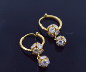 22k Jewelry Solid Gold ELEGANT SMALL HOOP EARRINGS with Stone E1356