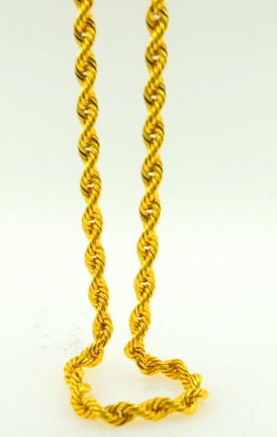 22k Yellow Solid Gold Chain Rope Necklace 4mm Modern Design mf