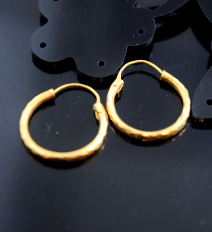 22k Solid Gold ELEGANT LARGE HOOP EARRINGS MODERN DESIGN E788